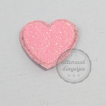 Hart applicatie glitter roze 20mm per stuk