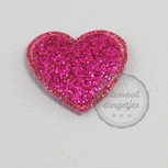 Hart applicatie glitter magenta 20mm per stuk