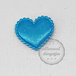 Hart applicatie satijn turquoise 20mm per stuk