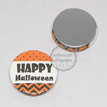 Flatback button Happy Halloween oranje zwart wit 25mm