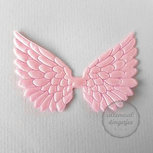 Vleugel angel wing applicatie satijn roze 45x70mm per stuk