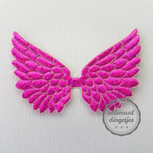 Vleugel angel wing applicatie magenta glitter 45x70mm per stuk