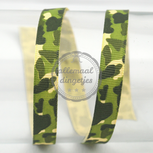 1 meter Ribbellint groen camouflage leger print 10mm breed