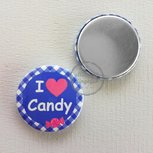 Flatback button I love Candy kobaltblauw fuchsia 25mm