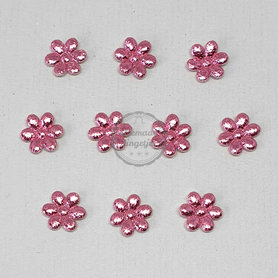 Bloem applicaties roze metallic glans 12mm 10 stuks