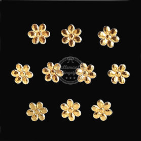 Bloem applicaties goud metallic glans 12mm 10 stuks