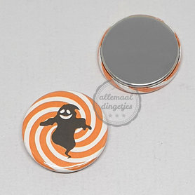 Flatback button Halloween oranje wit swirl met zwarte spook 25mm