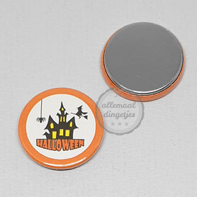 Flatback button Halloween spookhuis zwart wit oranje 25mm