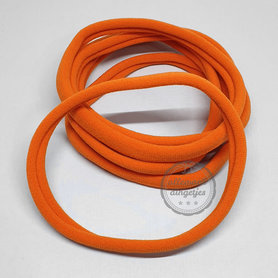 Nylon haarbandje oranje 10mm breed rekbaar baby