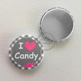 Flatback button I love Candy grijs met fuchsia 25mm