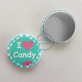Flatback button I love Candy blauwgroen fuchsia 25mm