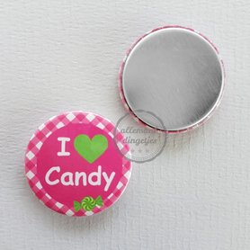 Flatback button I love Candy fuchsia limegroen 25mm