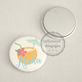 Flatback button cocktail met tekst Aloha 25mm