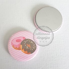 Flatback button donuts roze achtergrond 25mm