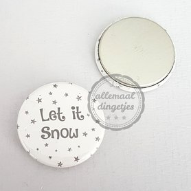 Flatback button met tekst Let it Snow wit met donkergrijs 25mm