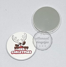 Flatback button Rudolph Merry Christmas rood wit Kerst 25mm
