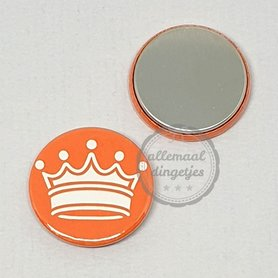 Flatback button Koningsdag kroon wit op oranje 25mm