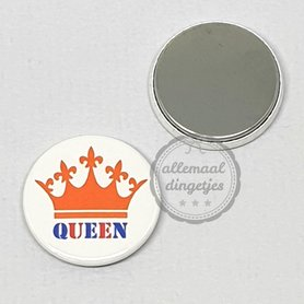 Flatback button Koningsdag Queen oranje kroon op wit 25mm