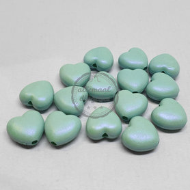 Acryl kralen hart 11mm blue mint matglans 15 stuks - gat 2mm
