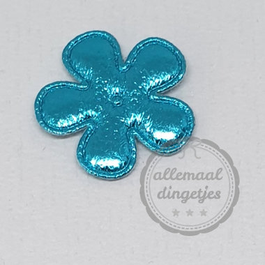 Bloem applicatie glans turquoise 25mm per stuk