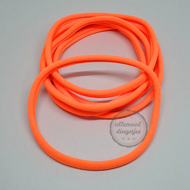 Nylon haarbandje neon oranje 10mm breed rekbaar baby