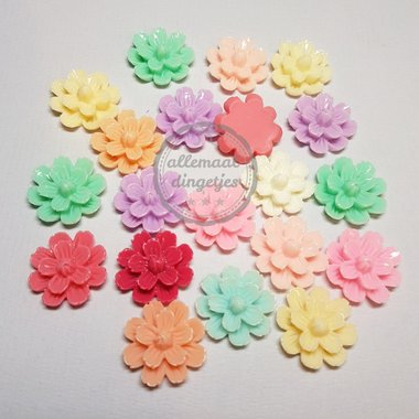 Flatbacks bloemen pastel mix 20mm 20 st