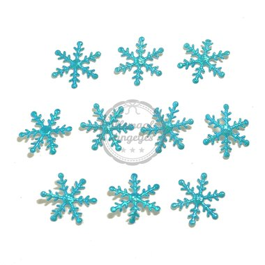 Sneeuwvlok ijsster applicaties turquoise 15mm 10 stuks