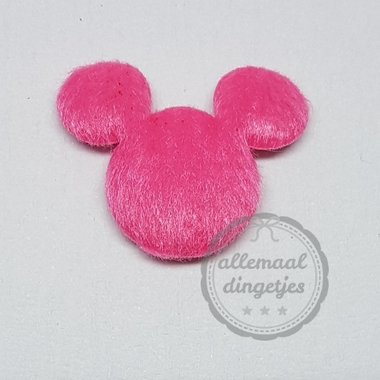 Muis applicatie pluche fuchsia 27x30mm per stuk