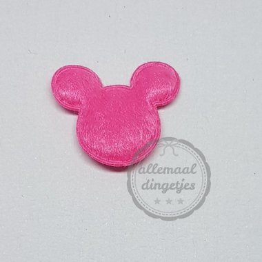 Muis applicatie pluche fuchsia 18x22mm per stuk