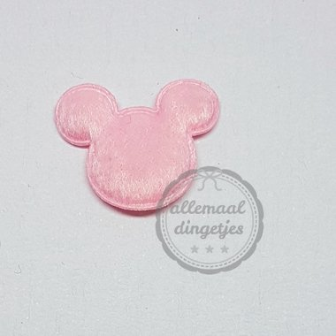 Muis applicatie pluche roze 18x22mm per stuk