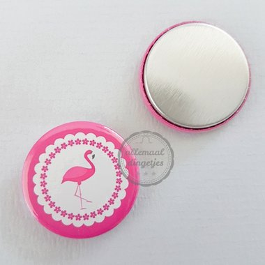 Flatback button flamingo fuchsia wit 25mm