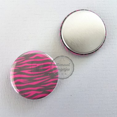 Flatback button zebra patroon zwart fuchsia 25mm