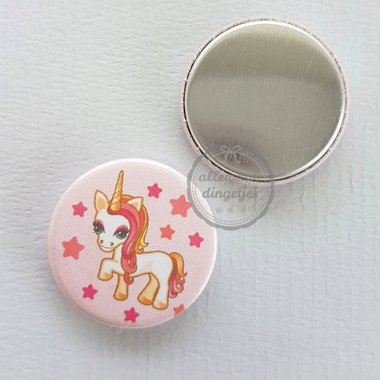 Flatback button eenhoorn unicorn lichtroze 25mm