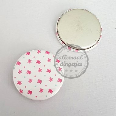 Flatback button wit fuchsia patroon bloemetjes 25mm