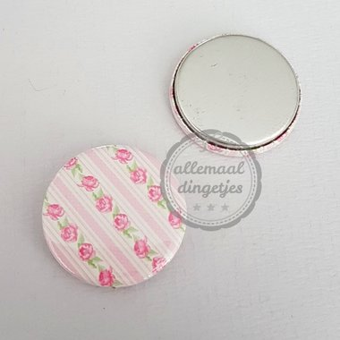 Flatback button wit roze roosjes patroon 25mm