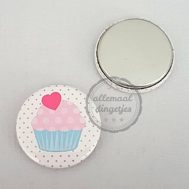 Flatback button cupcake wit roze lichtblauw 25mm