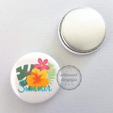 Flatback button Hawaii bloem met tekst Summer 25mm