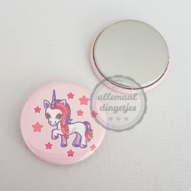 Flatback button eenhoorn unicorn roze paars 25mm