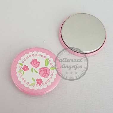 Flatback button met rozen roze wit 25mm
