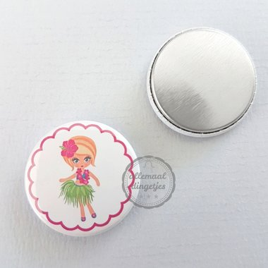 Flatback button Hawaii Hula meisje blond kort haar 25mm