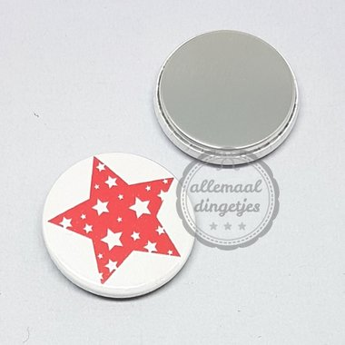 Flatback button ster rood op wit Kerst 25mm