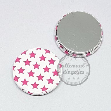 Flatback button ster patroon fuchsia Kerst 25mm