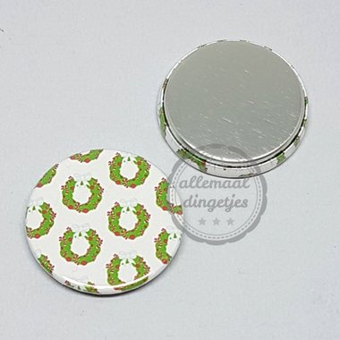 Flatback button patroon kerstkrans groen wit rood 25mm