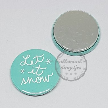 Flatback button Kerst tekst Let it snow blauwgroen 25mm