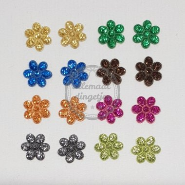 Bloem applicaties mix glitter 12mm 16 stuks