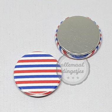 Flatback button Koningsdag rood wit blauw strepen patroon 25mm