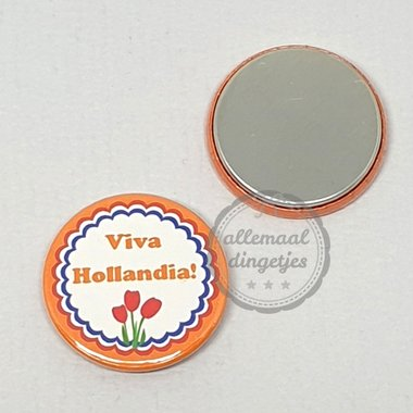 Flatback button Koningsdag Viva Hollandia op oranje 25mm