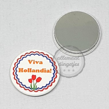 Flatback button Koningsdag Viva Hollandia op wit 25mm