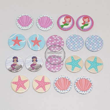 Flatback buttons mix Zeemeermin Mermaid 18 stuks