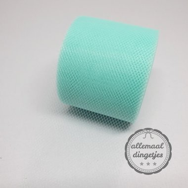 Tule 5cm breed effen blue mint per meter